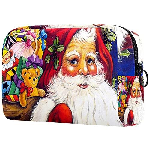 Trousse de Maquillage Voyage Maquillage Case Cosmetic Case Professional Portable Bear Santa Claus Organisateur et Rangement pour Porte-pinceaux de Maquillage