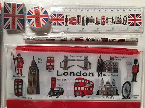 London Icons design Pencil Case & School briefpapier set van 5 items