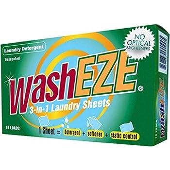 WashEZE Travel Friendly (20 loads) Laundry Detergent Soap Sheet-No Scent Laundry Sheets are More Efficient than Powders Pods Pacs or Liquids TSA Compliant