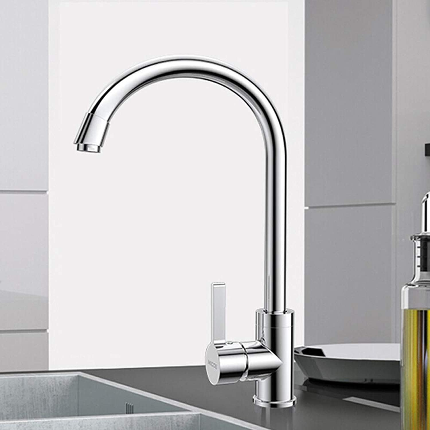 WOOMD 360 Degree redating Hot and Cold Basin Faucet Commercial Kitchen Faucets Stainless Steel Single Handle Swivel Kitchen Sink Faucet Basin Faucet Stainless Steel Kitchen Faucet