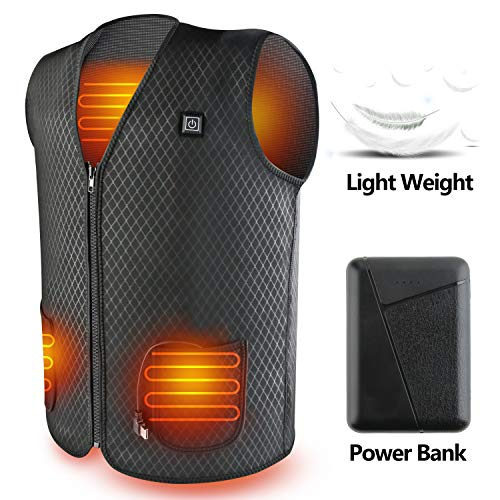 PBOX Heated Vest, USB Charging Electric Heated Jacket Washable for Women Men Winter Outdoor Motorcycle Riding with Rechargable Battery
