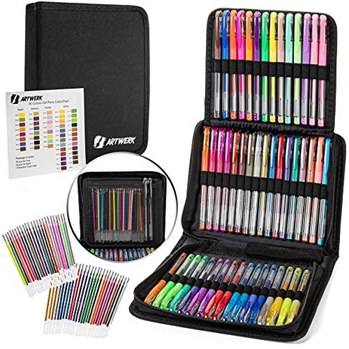 Nylea Paquete de 100 bolígrafos de gel con purpurina para colorear para adultos, garabateos, libros de recortes, dibujo, escritura, diario de balas y bocetos con estuche de seda de viaje