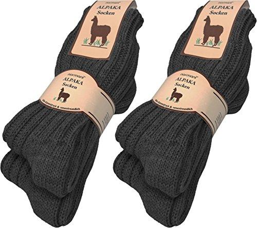 normani 4 Paar sehr Dicke Flauschige warme Alpaka Socken - mit Alpakawolle Farbe Anthrazit Größe 39/42