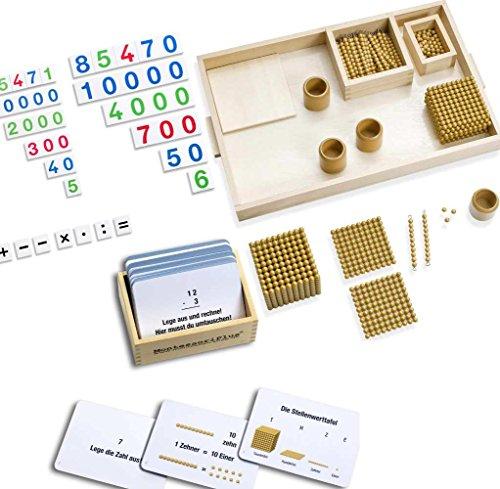 MontessoriPlus Goldenes Perlenmaterial mit großer Lernkartei und 3 Zahlenkarten-Sätzen inkl. Selbstkontrolle