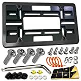 Front License Plate Mounting Kit- Universal License Plate Bracket & Black Aluminum Car Tag Frame for 2 Drill Hole Front Bumper, Adapter Holder with Anti-Theft Screws Bolts Caps Covers, Fastener Nuts