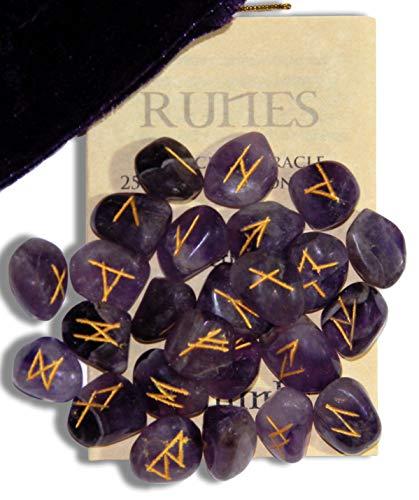 Enchanted Jewelry Amethyst Healing Edelstein Runen mit Gravur Schriftzug Bedienungsanleitung und Samtbeutel