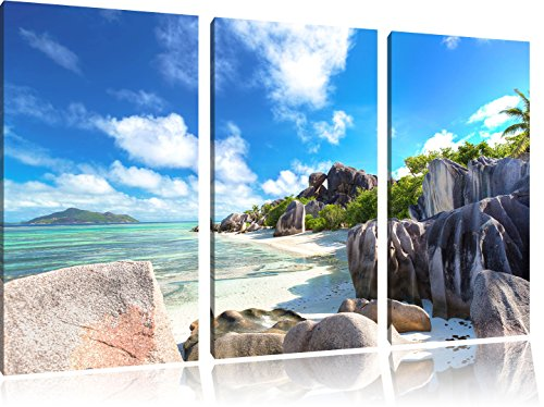 Pixxprint Spiaggia Seychelles Stampa su Tela 3 Parti Artistica murale