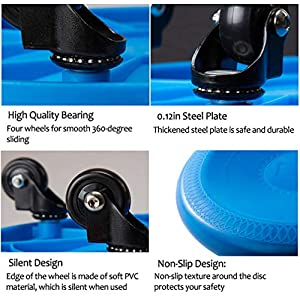 Sunsign ab Crunch Machine Coaster Workout Equipment core Fitness Roller for Home abs Universal Wheel Roller with Knee mat and Total Body Exercise System Coasters Abdominal Trainers, Blue