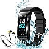 Montre Connectée Intelligente Femmes Homme Enfant Smartwatch Etanche Bracelet Connecté Podometre Cardio fréquencemètre et Ecouteur Bluetooth Sport pour iPhone/Samsung/Huawei (Noir)