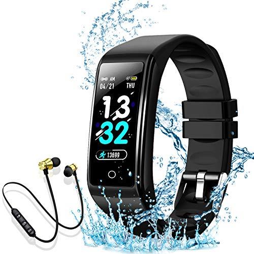 Smartwatch Orologio Intelligente Fitness Tracker Uomo Donna Cardiofrequenzimetro per Monitor da Polso Contapassi Sportivo Activity Tracker Cuffie Bluetooth Sport per iPhone Xiaomi Samsung (nero)