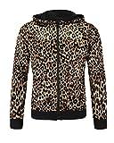 Daoba Sudadera Casual con Capucha para Hombre Chaqueta Primavera y otoño Outwear Estampado Leopardo Cremallera