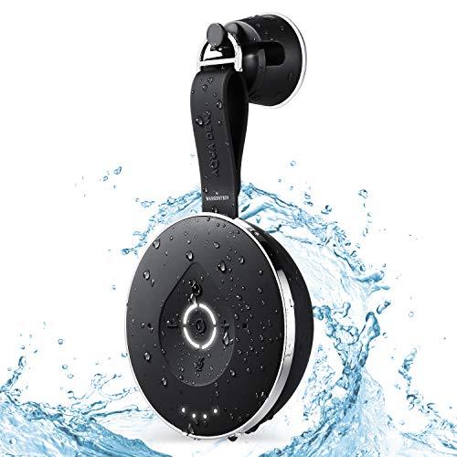 Aqua Dew – El primer altavoz de ducha Alexa a prueba de salpicaduras – WiFi y Bluetooth habilitado inteligente impermeable con Alexa incorporado (negro)