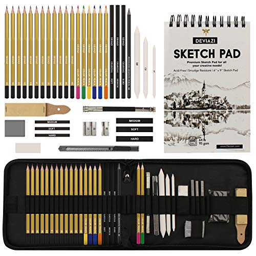 Deviazi (40-Piece Set) Drawing Artist Pencils Sketching Set. Includes Graphite, Charcoal Pencils, 100 Page Drawing Pad, Kneaded Eraser, Blending Stump with Travel case for Kids, Teens and Adults.