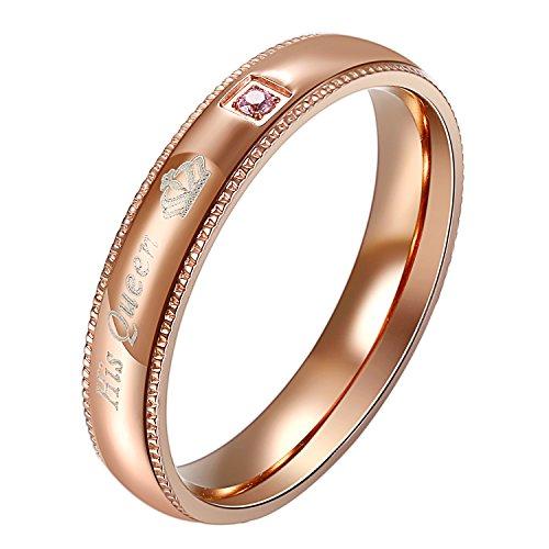 OIDEA Anello Donna Acciaio Inossidabile promessa di Matrimonio Fidanzamento His Queen Mosaico zircone Oro Rosa 17