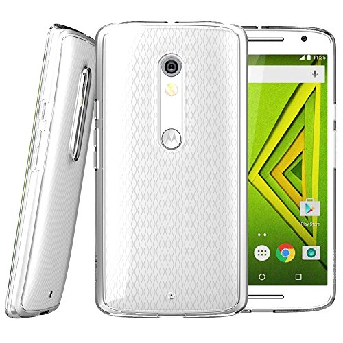 Tektide Case Compatible for Motorola Droid Maxx 2/Moto x Play, [Invisible Armor] Xtreme Slim, Clear, Soft, Lightweight, Shock Absorbing TPU Bumper/Back Cover