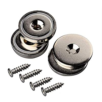 Mutuactor Neodymium Countersunk Magnets 2Pack with Hole, 92 lb Heavy Duty Strong Round Disc Magnets,Rare Earth Cup Magnetic Base for Door Latch Wall Mount Tool Holder Home Kitchen Store Room Workplace