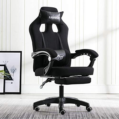 CBA BING Silla Gaming con Reposapies Silla Oficina Gaming Comoda Altura Ajustable Sillas Ergonomicas para Oficina En Casa,Negro