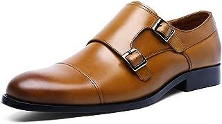 Kirabon Zapatos Mengke Hebilla Zapatos Monk Zapatos de Cuero de los Hombres (Color : Amarillo, Size : 39)