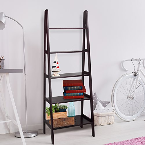 Casual Home 5-Shelf Ladder Bookcase,72-Inch , Espresso
