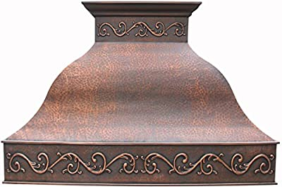 Handcrafted Copper Range Hood with Commercial Grade Hood Vent, Lighting, Fan Motor and Baffle Filter, High CFM, Custom Decorative Embossing Patterms Wrapped Around Wall Mount 42in x 39in