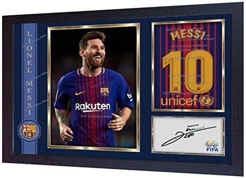SGH SERVICES Gerahmtes Autogramm 2018, Lionel Messi Barcelona Fussball, Autogramm, Fotovordruck #3