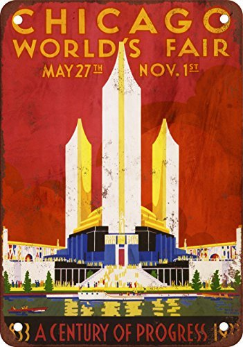 1933 Chicago's World Fair Reproduction Vintage Metal Metal Plate Look, 12 x 18 Inches