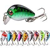 Aneew Wholesale 10pcs Set Fishing Lures Minnow Hard Baits Topwater Swim Crankbait 3D Lifelike Eyes 3cm/1.6g Treble Hooks Outdoor Sports (Type1-10pcs)
