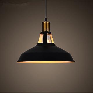 Industrial Colgante de Luz, E27 Retro Lámpara de Techo Iluminación Decorativa, Vintage Metal Pantallas de Iluminación para Loft Restaurante Coffee Bar (negro)