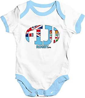 TWISTED ENVY Funny Baby Bodysuits Fiji Rugby Ball Flag