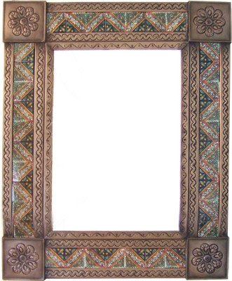 Fine Crafts Imports Medium Brown Morelia Tile Talavera Tin Mirror