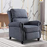 Bonzy Home Recliner Chair, Contemporary Arm Chair, Push Back Recliner with Rivet Decoration, Navy