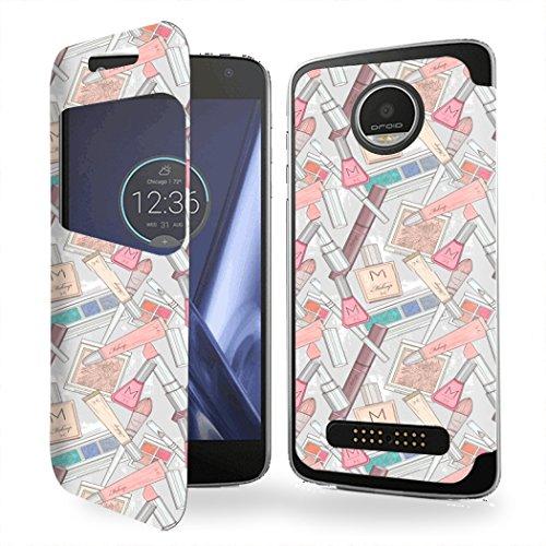 Case-Industry Mobilefashion Custodia Protettiva Case Cover per Motorola Moto Z - Esterno Modello Makeup Trucco Moda Bellezza estetica Collection Pattern Cuoio PU