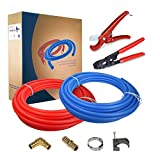 Pexflow PXKT50012 Pex Starter Kit - Crimper & Cutter Tools, 3/4-In Brass Elbow & Coupling Fittings, 3/4-In Stainless Steel Cinch Clamp, 3/4-In Half Clamp, 3/4-In X 300ft PEX Tubing (1 Red + 1 Blue)