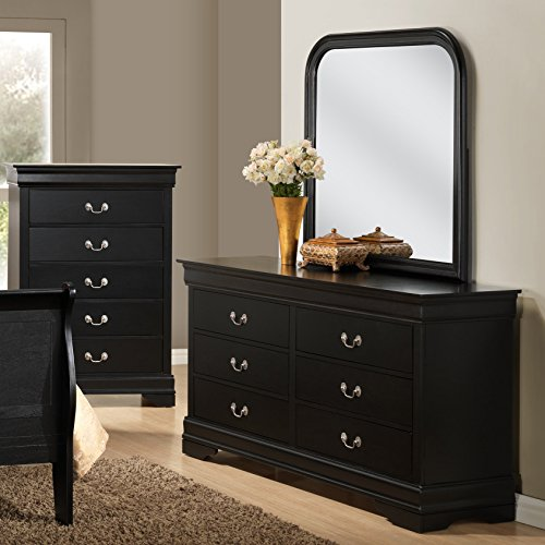 Roundhill Furniture Isony 594 Louis Philippe Style Wood Bedroom Furniture Set, King Bed, Dresser, Mirror, Nightstand and Chest, Black
