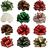 12 Pieces Christmas Bows for Gift Wrapping, Pull Bows for Present, Easy and Fast Wrapping Christmas...