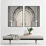 Póster de viaje de puerta de Marrakech con estampado marroquí, arte de pared bohemio, pintura en lienzo, cuadros para la decoración del hogar de la sala de estar-24X32 pulgadas 2 piezas sin marco