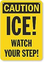 安全標識-注意-氷! 足元に気を付けて。 金属スズサインUV保護および耐候性、通知警告サイン