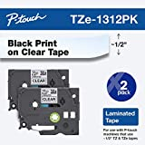 Brother Genuine P-touch TZE-1312PK Tape, 1/2' (0.47') Standard Laminated P-touch Tape, Black on Clear, Perfect for Indoor or Outdoor Use, Water Resistant, 26.2 Feet (8M), Two-Pack