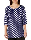 Star Vixen Women's Petite Elbow Sleeve Keyhole Back Shirttail Hem Top, Navy/White Dot, PL