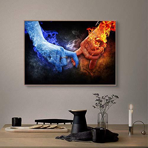 Hielo y fuego dedos de la mano arte lienzo pintura amor ilustraciones carteles impresiones arte de la pared imágenes para la decoración del hogar de la sala de estar-50x70cm sin marco