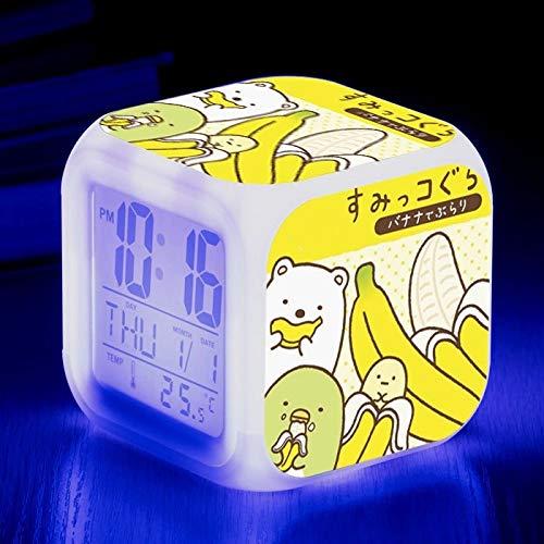 fdgdfgd Lindo Animal Oso de Dibujos Animados Juguete Despertador LED Color cambiante número con termómetro Fecha Despertador