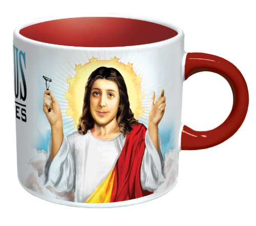 Jesus Shaves Disappearing Coffee Mug - Add Hot Water and Jesus' Beard Disappears - Comes in a Fun Gift Box - by The Unemployed Philosophers Guild