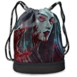 Drawstring Bag For Women Men Vampire Queen Red Blood Backpack Sackpack With Shoe Compartment Soccer Basketball Cinch Bag Personalized Candy Sack Party Favors