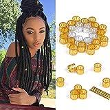 Alileader 100pcs Gold Hair Clips Dreadlock Accessories Hair Beads for Braids for Women Hair Jewelry for Women Braids Hair Accessories for Braids Hair Cuffs Hair Jewelry for Locs (Mixed Golden Silver)