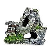 Acuario de rocalla de ocultación de la roca de la cueva de la decoración, Debajo del paisaje Mountain View del ornamento del acuario de rocalla del reptil Basking Ocultar Hábitat tanque Decoración del