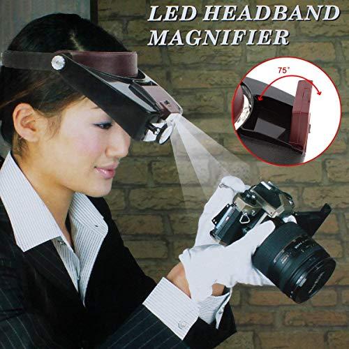 EUROXANTY®- Lupa Ajustable de Cabeza para Joyería con Luz LED Ojo Gafas Lente Lupa 2 Led Ligero Visera para Quirúrgico Reparar Precisión Trabajo Leyendo(Negro + Rojo)