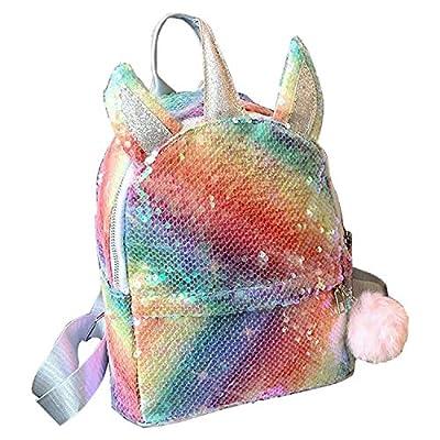 HAPPI Mochila de Unicornio con lentejuelas arcoíris, Mochila Escolar para niña, Mochila de Lentejuelas, Mochila de Viaje,Mochila de Moda Cute Glitter Girl,Mochila de Lentejuelas para Niñas