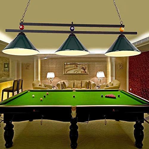 Candelabros de decoración de billar, candelabro de luz colgante con pantalla de hierro de 3 luces para sala de billar, restaurante, bar, accesorios de iluminación de techo de hierro forjado E27