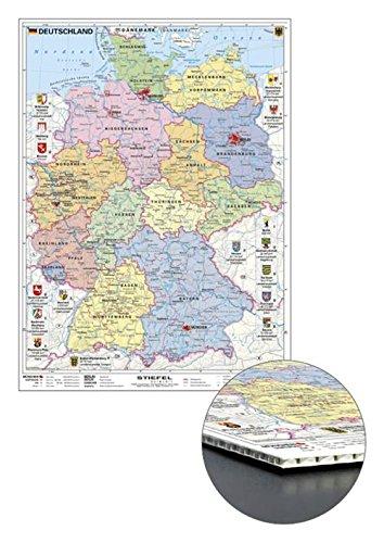 Deutschlandkarte Deutschland politisch mit Wappen, zum Pinnen, 56 x 76 cm (9709871700064)