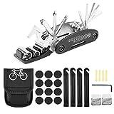 ONEHAUS - Set de herramientas para reparación de bicicletas (16 en 1, con parches autoadhesivos y desmontador de neumáticos)
